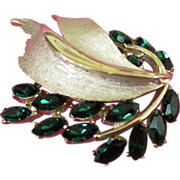 BSK Radiant Emerald Green Rhinestone Brooch