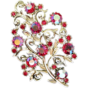 Coro Scrolling Branches with Raspberry AB Rhinestones Pin Brooch