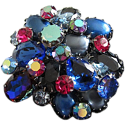 Captivating Layered Blue Rhinestone Brooch Pin, Unsigned