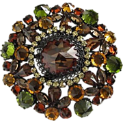 Signed AUSTRIA Dramatic Fall Colors Rhinestone Brooch Pin