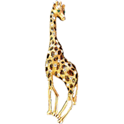 REDUCED Large and Lovely Rhinestone Enamel Giraffe Pin Brooch