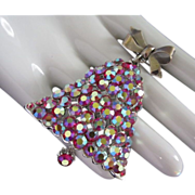 Ring in the Holidays Brilliant AB Rhinestone Bell Pin Brooch