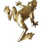 REDUCED Trifari Brushed Gold Tone Frog Pin ~ REDUCED!