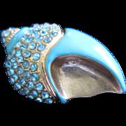 REDUCED Turquoise Enamel and Aquamarine Rhinestone Seashell Pin Brooch, Signed ~ REDUCED!!