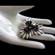 Vintage Milk Glass and Black Rhinestone Pin Brooch