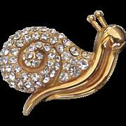 REDUCED Prettiest Krementz Rhinestone Snail Figural Pin ~ REDUCED!