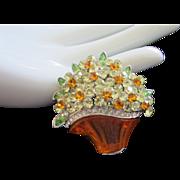 SALE Vintage Jonquil Rhinestone Flowers in Lucite Basket Pin Brooch