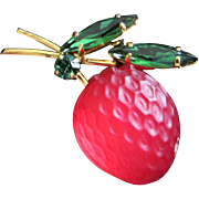REDUCED Glowing Glass Strawberry Forbidden Fruit Pin, Made in Austria