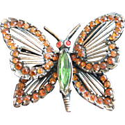 Early Weiss Rhinestone and Copper Butterfly Pin