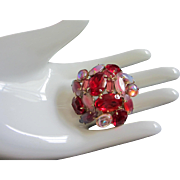Ruby Red and Shades of Pink Rhinestone Pin Brooch