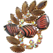 Tiger Stripe Art Glass, AB and Smokey Topaz Rhinestone Brooch Pin