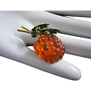 REDUCED Glowing Austrian Orange Raspberry Forbidden Fruit Pin ~ REDUCED!