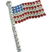 REDUCED Red, Clear and Blue American Rhinestone Flag Patriotic Pride Pin ~ REDUCED!