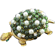 Faux Jade and Pearl Turtle Pin with Rhinestones