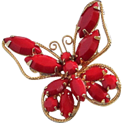 Vintage Lipstick Red Glass Navette Butterfly Pin