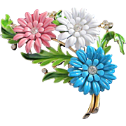 SOLD Crown Trifari Pastel Enamel Trio of Cornflowers Pin Brooch