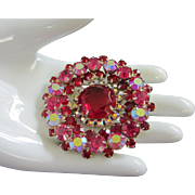 Dazzling Ruby Red, Fuchsia and Raspberry AB Rhinestone Brooch Pin