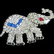 SALE Sparkling Patriotic Political Rhinestone Elephant Pin Brooch