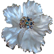 SOLD Kramer Dimensional White Satin Flower with Rhinestone Trembler Centerpiece Pin