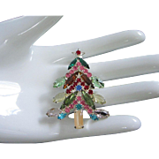 Special Multi Colored Rhinestone Holiday, Christmas Tree Pin