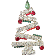 SOLD Vintage Large Rhinestone Christmas Tree, Holiday Pin