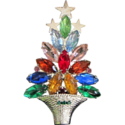 REDUCED Colorful Navette Rhinestone Holiday, Christmas Tree Pin ~ REDUCED!