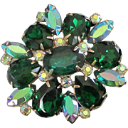 Brilliant Emerald Green and AB Rhinestone Pin Brooch