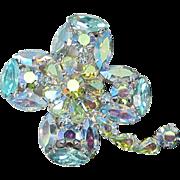 Four Leaf Clover Jonquil and Aquamarine Aurora Borealis Rhinestone Pin, Brooch