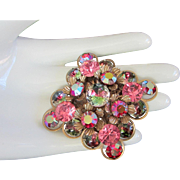 Signed Cathe Pink, Raspberry AB Rhinestones, Art Glass Pin Brooch