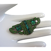 Art Deco Emerald Green Rhinestone Pin