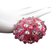 Dazzling Pink Marguerite and Crystal Pin Brooch