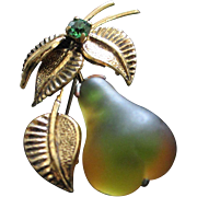 Forbidden Fruit Glowing Green and Gold Molded Glass Pear Pin