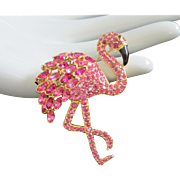 Flashy Nolan Miller Fuchsia Rhinestone Flamingo Pin Brooch
