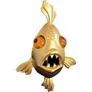 Wildly Humorous JJ Piranha Fish Figural PIn