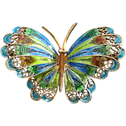 REDUCED Italian 800 Silver Gold-Wash Enamel Butterfly Pin Brooch ~ REDUCED!!