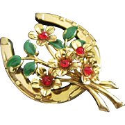 SALE Lucky Horseshoe and Rhinestone Flower Bouquet Pin Brooch