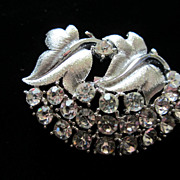 Vintage Clear Rhinestones and Leaves Pin Brooch