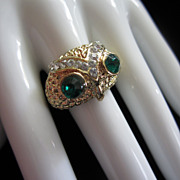 REDUCED Fabulous Vintage Rhinestone Owl Ring, Size 10 ~ REDUCED!