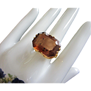 SALE Large Open Back Topaz Rhinestone Ring, Size 11