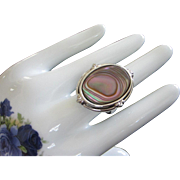SALE Gorgeous and Substantial Whiting and Davis Abalone Ring, Size 12