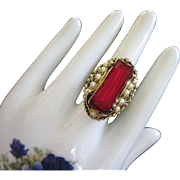 SALE Ornate Vintage Faux Ruby and Pearl Cocktail Ring, Adjustable Band