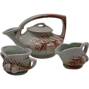 McCoy Teapot, Sugar and Creamer Set in Pinecone Pattern