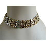 SALE Signed Monet Heavy Gold Tone Necklace