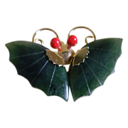 Beautiful Butterfly Brooch and Pendant with Jade Wings