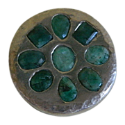 Sterling Silver and Emerald Round Brooch