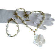 SALE Vintage Three Piece Set, Necklace, Bracelet, and Pierced Earrings, Mother of Pearl