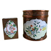 Chinese Copper Finish and Hand Painted Enameled Round Cigarette or Tobacco Jar with Match Box,