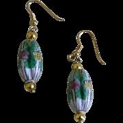 Lovely Oriental Cloisonne Pierced Earrings