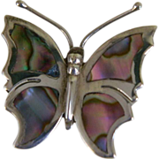 Beautiful Sterling Silver and Abalone Shell Butterfly Pin Mexico