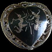 Siam Silver Niello Heart Shaped Brooch 1940's